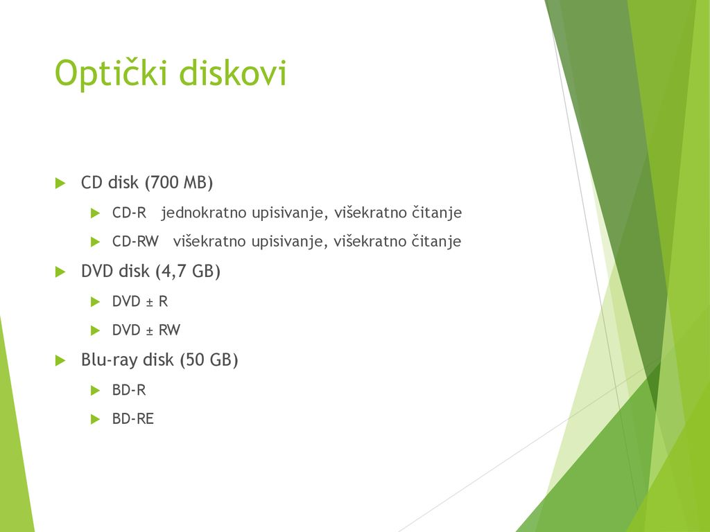 Optički diskovi CD disk (700 MB) DVD disk (4,7 GB)